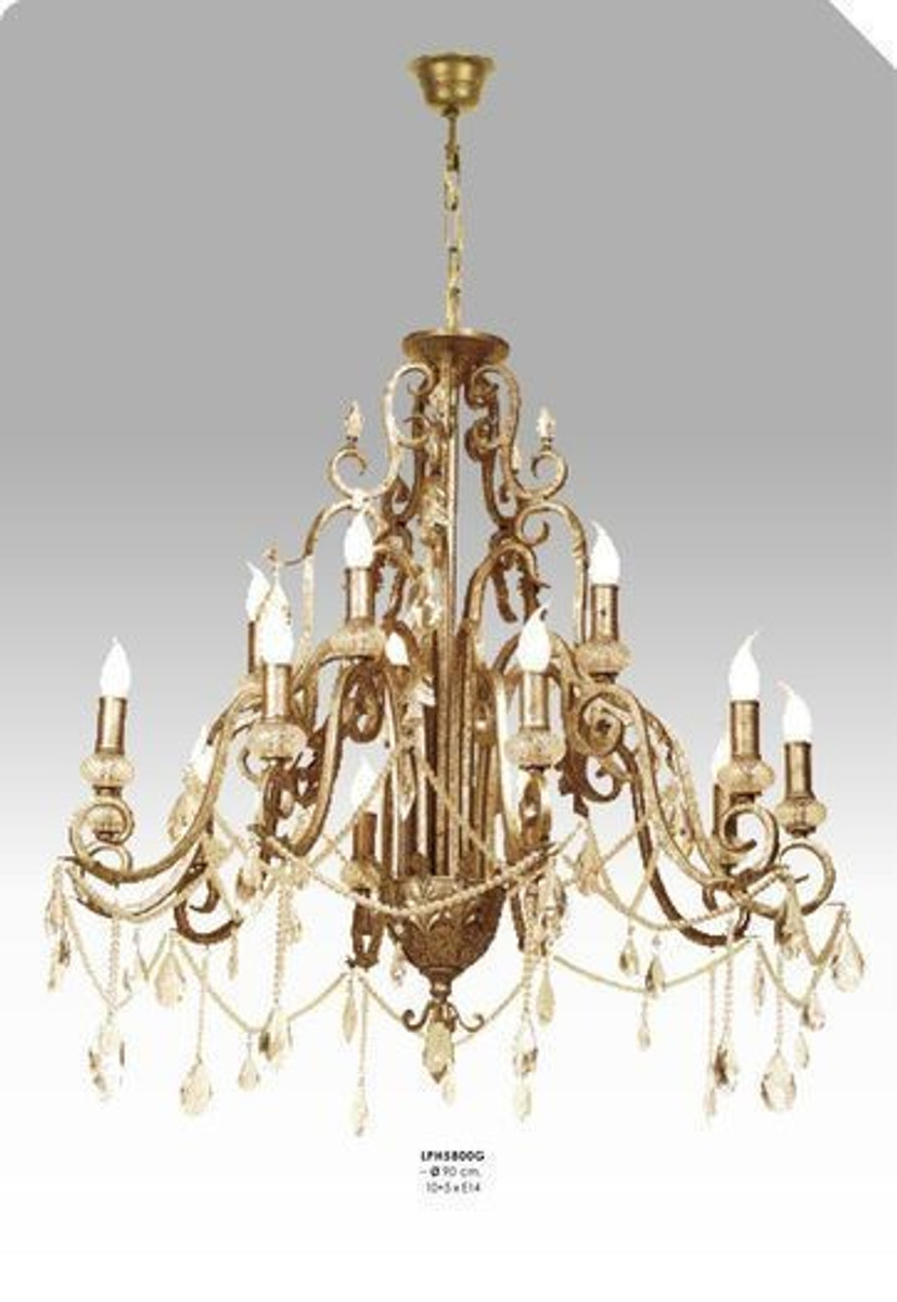 Casa padrino luxury baroque chandelier with real glass crystals gold casa padrino luxury baroque chandelier with real glass crystals gold antique look 10 flame chandeliers aloadofball Image collections