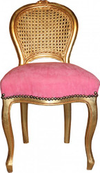 Casa Padrino Ladys Chair Pink / Gold make-up chair