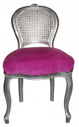 Casa Padrino Ladys Chair Purple / Silver make-up chair