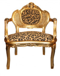 Casa Padrino Baroque Bench tiger pattern / Gold Antique chair