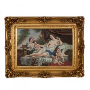 Handgemaltes Barock Öl Gemälde Familien Bildniss Gold Prunk Rahmen 130 x 100 x 10 cm - Massives Material – Bild
