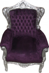 Casa Padrino Baroque Kids Armchair Purple / Silver