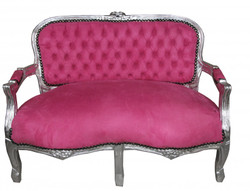 Casa Padrino Baroque Kider seat pink / silver antique style