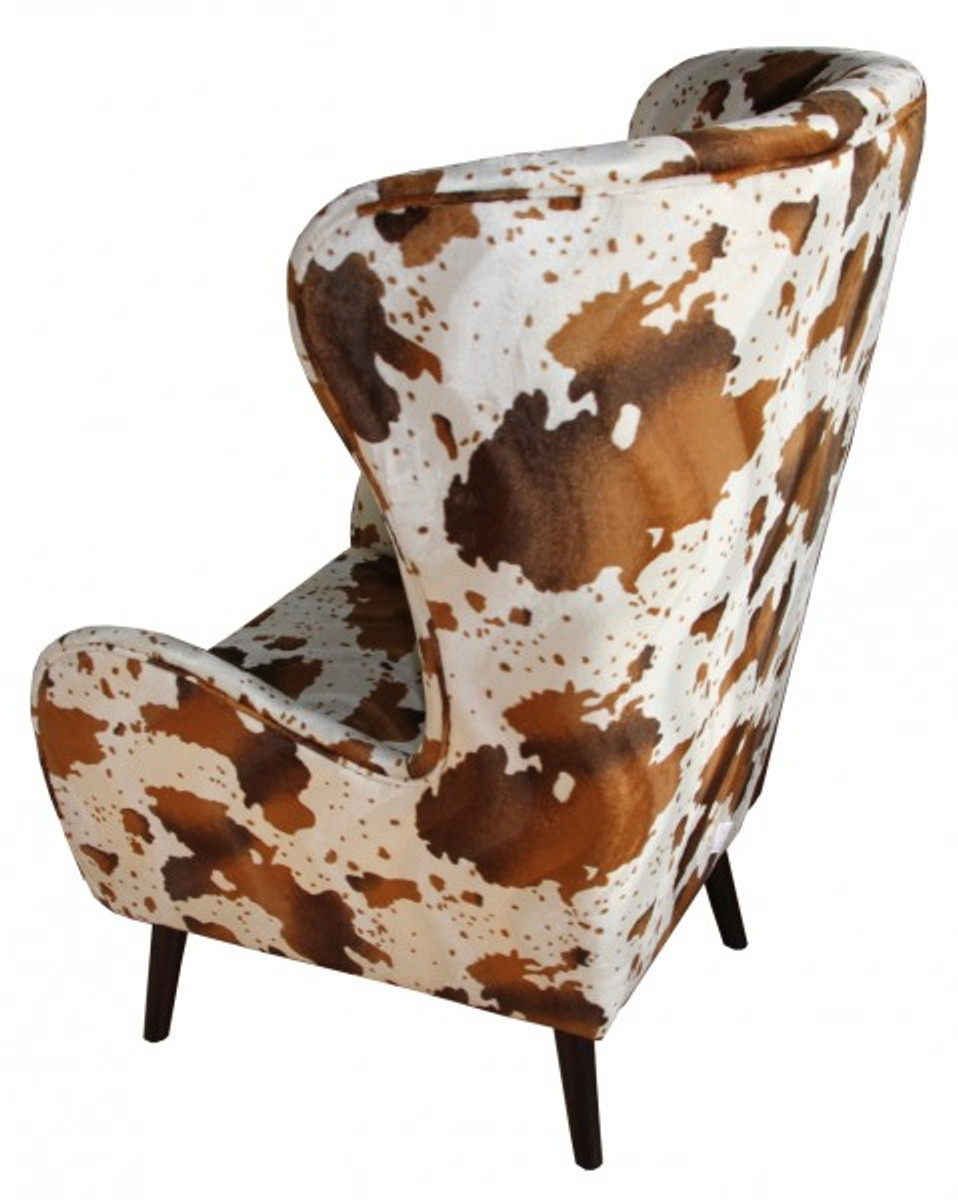 Casa padrino luxury wing chairs cow pattern brown white for Ohrensessel chesterfield