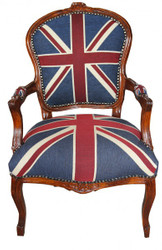 Baroque Salon Chair Mod1 Union Jack  / Mahogany Brown - English Flag