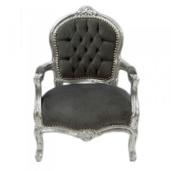 Casa Padrino Baroque Kids Chair Grey / Silver - Children's Furniture