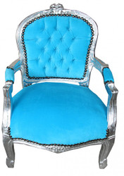 Casa Padrino Baroque Salon Chair Turquoise / Silver- Children's Furniture