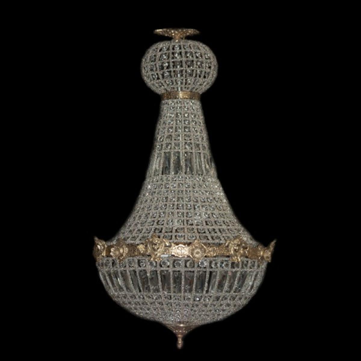 Barock Kronleuchter Gold mit Glaskristallen Höhe 90 cm, Durchmesser ...
