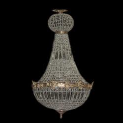 Barock Kronleuchter Gold mit Glaskristallen Höhe 90 cm, Durchmesser 50 cm Antik Stil - Möbel Lüster Leuchter Hängeleuchte Hängelampe