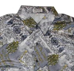 Thai Silk Shirt by II Padrino Moda  Grey/White/Yellow Mod9 Hawaii Shirt 002