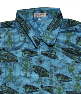 Thai Silk Shirt by II Padrino Moda Cyan/Blue Mod23 Hawaii Shirt – Bild 2