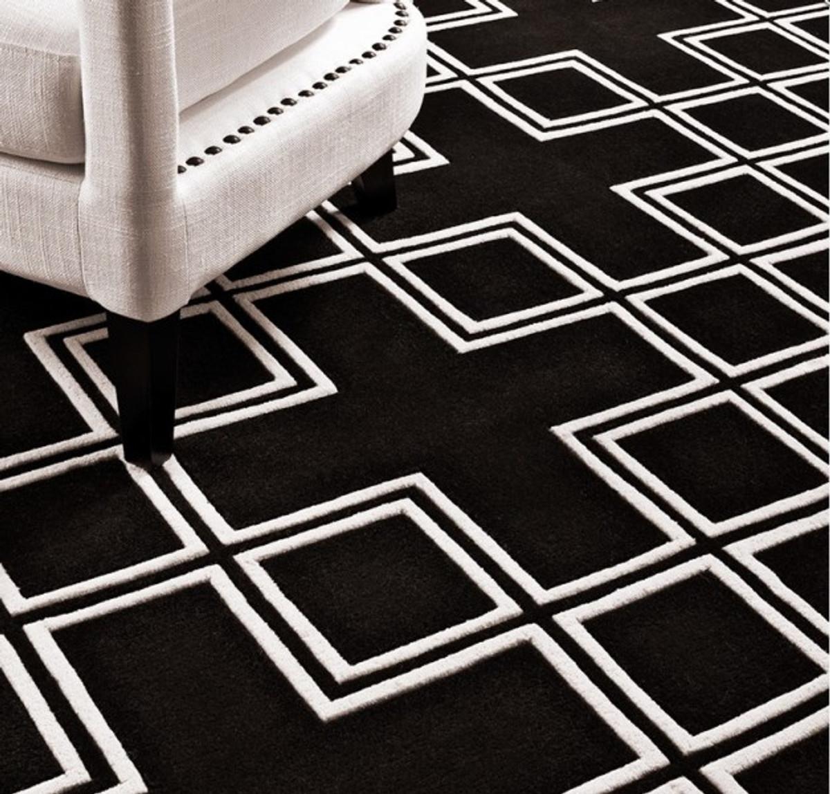 Schwarz weiß teppich  Wunderschöner Luxus Teppich aus 100% Neuseeland-Wolle mit Mäander ...