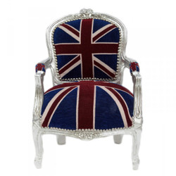 Casa Padrino Baroque Salon Chair Union Jack / Silver - Children's Furniture