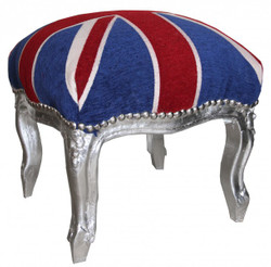 Casa Padrino baroque ottoman Union Jack / Silver - Stool - Antique Style English Flag England
