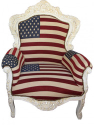 "Casa Padrino Barock Sessel ""King""   USA Design/ Creme  Möbel Antik Stil- USA Flagge"