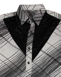 Thai Silk Shirt by Il Padrino Moda Black/White Mod8 -Hawaii long-armed shirt – Bild 2