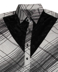Thai Silk Shirt by Il Padrino Moda Black/White Mod8 -Hawaii long-armed shirt 002