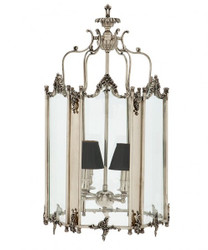 Casa Padrino baroque pendant lamp silver plated antique look, 4 burner chandelier, width 39 cm, height 73 cm, depth 42 cm - baroque palace lamp - finest quality