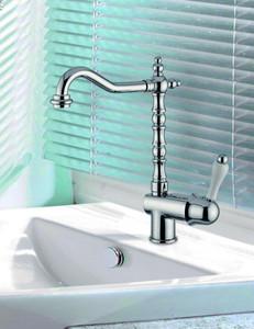 Luxus Bad Zubehör - Jugendstil Retro Waschbecken Armatur Waschtisch Einhand Waschtischbatterie Chrom Serie Milano - Made in Italy