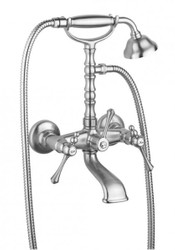 Luxury Bath Accessories - Art Nouveau Retro bath mixer with hose and adjustable hand shower wall bracket - Bathtub Faucet Chrome - Series Milano - Made in Italy
