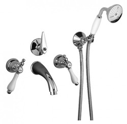 Luxury Bath Accessories - Art Nouveau Retro Concealed bath mixer with hand shower hose and wall bracket - tap for Bathtub - Chrome - Series Milano - Made in Italy