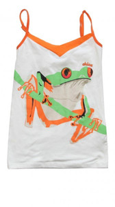 Chica Bandita Skateboard Girlie Top White/ Green Frog