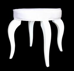 Casa Padrino Baroque Stool White / White - Designer Round Stool - luxury quality