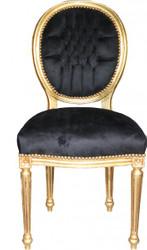 Casa Padrino Baroque Dinner Chair Black / Gold Mod 2 / Round
