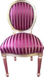 Casa Padrino Barock Esszimmer Stuhl Bordeauxrot / Violett Streifen / Gold Mod2 / Rund
