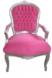 Casa Padrino Mod1 Baroque Salon Chair Pink / Silver Antik Design