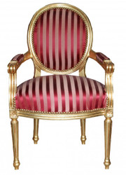 Casa Padrino Baroque Salon Chair Bordeaux Red / Purple Stripes / Gold Mod2 round