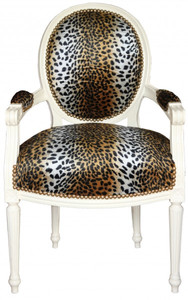 Casa Padrino Baroque dining room  Chair Leopard pattern / cream Mod2 round – Bild 1
