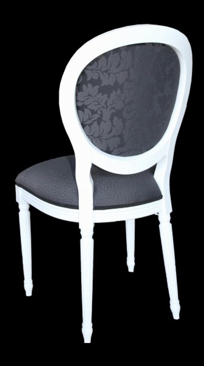 Casa padrino barock esszimmer stuhl ohne armlehne grau for Stuhl armlehne grau