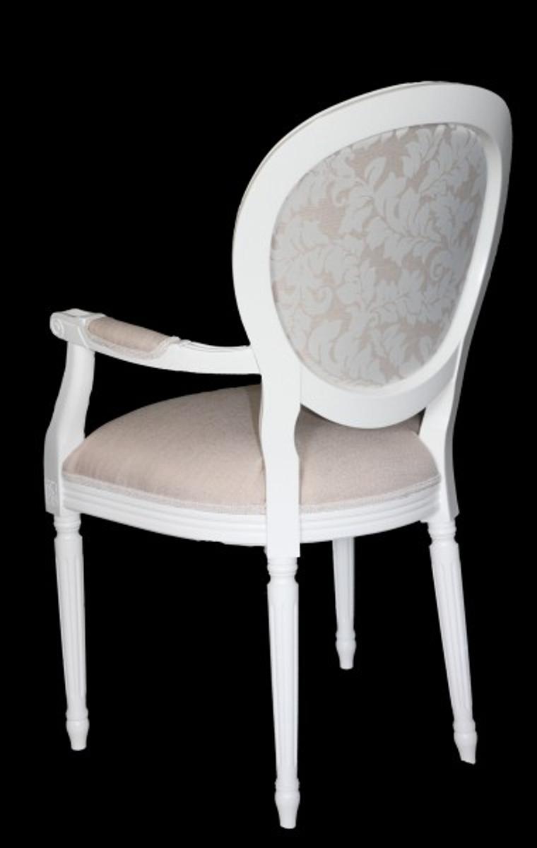 Mit Qualität Esszimmer Padrino Armlehne Creme Weiß Casa Barock Luxus Designer Stuhl 54R3jcAqSL
