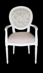 Casa Padrino with armrest Baroque Dinner Chair Cream/White - Designer Chair - Luxury quality