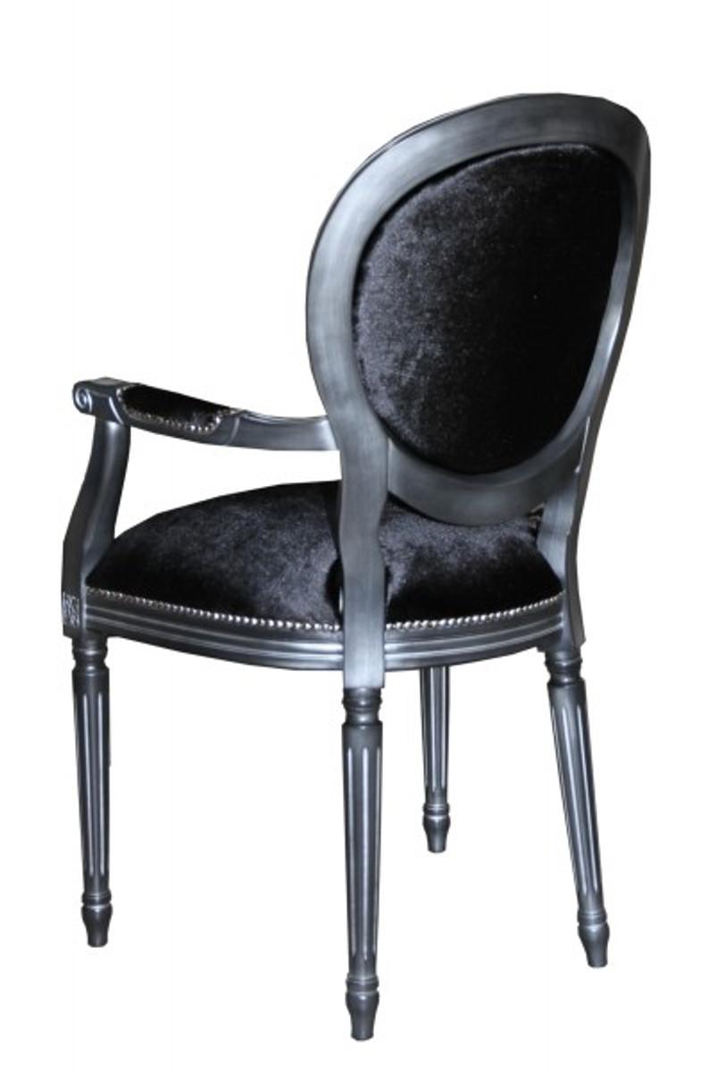 casa padrino barock esszimmer stuhl mit armlehne schwarz silber designer stuhl luxus. Black Bedroom Furniture Sets. Home Design Ideas
