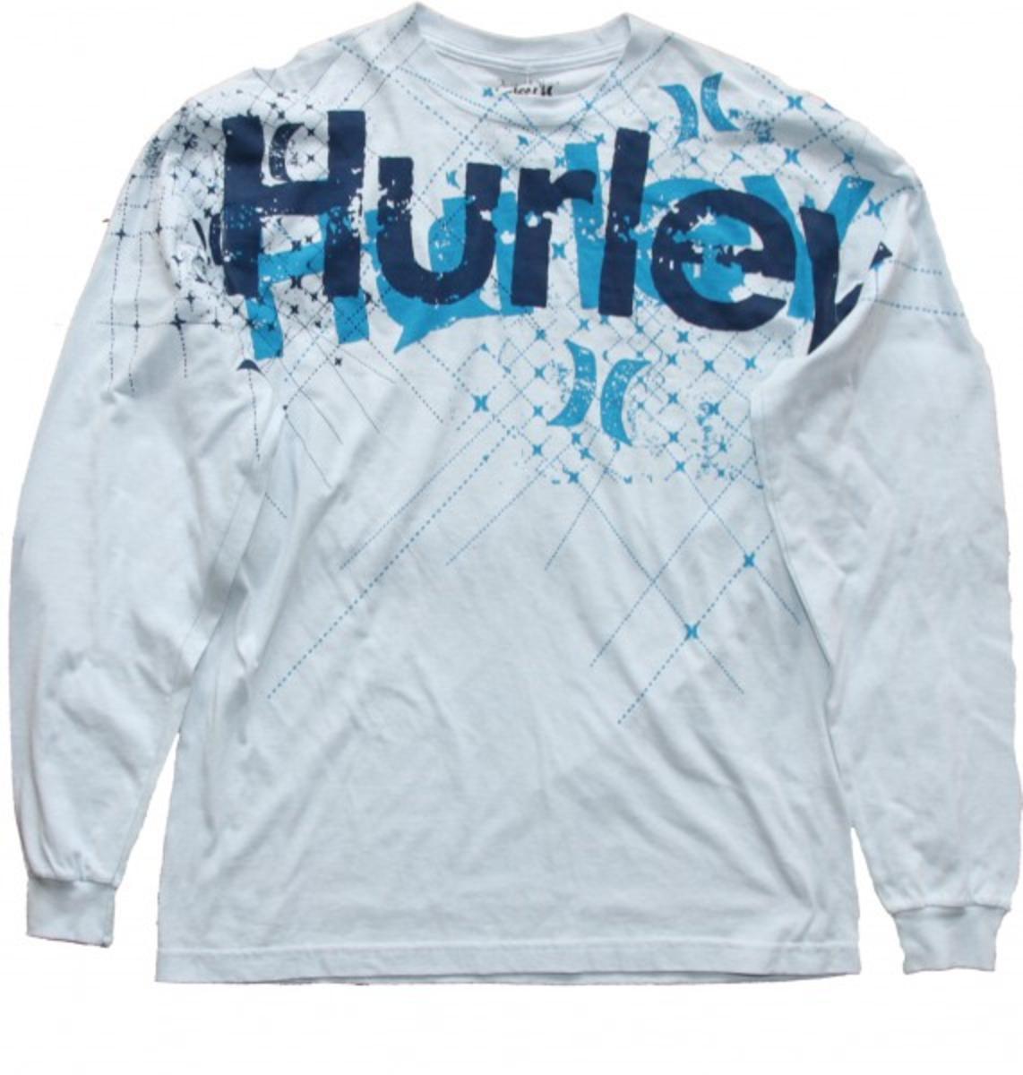 Hurley Skateboard Long Sleeve T Shirt Facet Sky Blue Skatewear