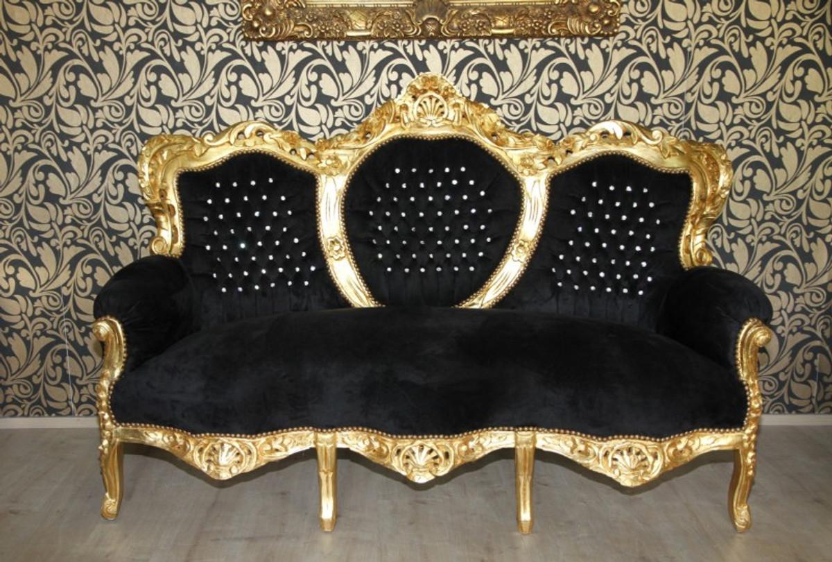 casa padrino barock 3er sofa king schwarz gold mit bling bling glitzersteinen mobel