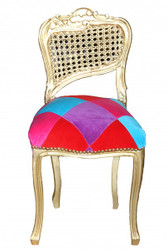 Casa Padrino Ladys chair Mod2 Karo stained / Gold - Make Up Chair