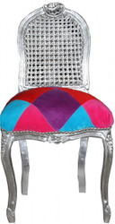 Casa Padrino Ladys chair Karo stained / Silver - Make Up Chair