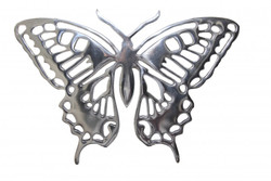 Giant Casa Padrino designer butterfly made ​​of polished aluminum, silver, H 29 cm, W 41 cm - Wall figure, wall decoration Aluminum