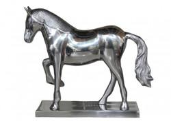 Casa Padrino luxury horse figure on base, silver, W 35 cm, H 30.5 cm - Massive Sculpture - Fine & sumptuously