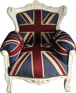 Casa Padrino Baroque Kids Armchair Union Jack / Cream - throne of England English Flag Tron – Bild 1