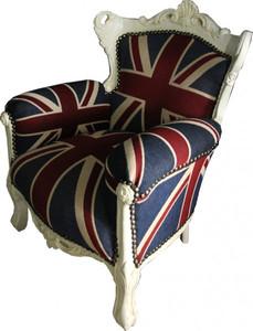Casa Padrino Baroque Kids Armchair Union Jack / Cream - throne of England English Flag Tron – Bild 3