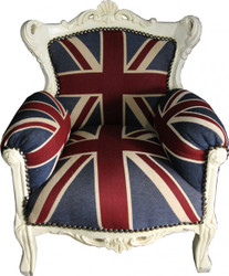 Casa Padrino Baroque Kids Armchair Union Jack / Cream - throne of England English Flag Tron