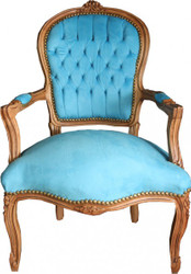 Casa Padrino Baroque Salon Chair Light Blue / Natural Wood - Furniture natural wood
