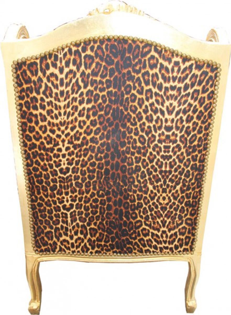 Casa Padrino Barock Lounge Thron Sessel Leopard Gold