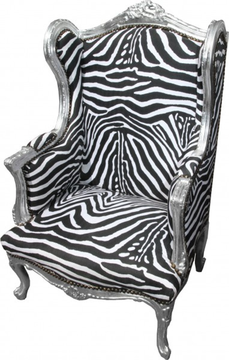 Casa Padrino Baroque Lounge Throne Zebra / Silver   Wing Chairs   Wingback  Chair Tron Chair
