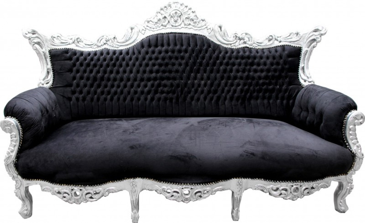 casa padrino barock sofa master schwarz silber m bel couch lounge sofas barock sofas. Black Bedroom Furniture Sets. Home Design Ideas