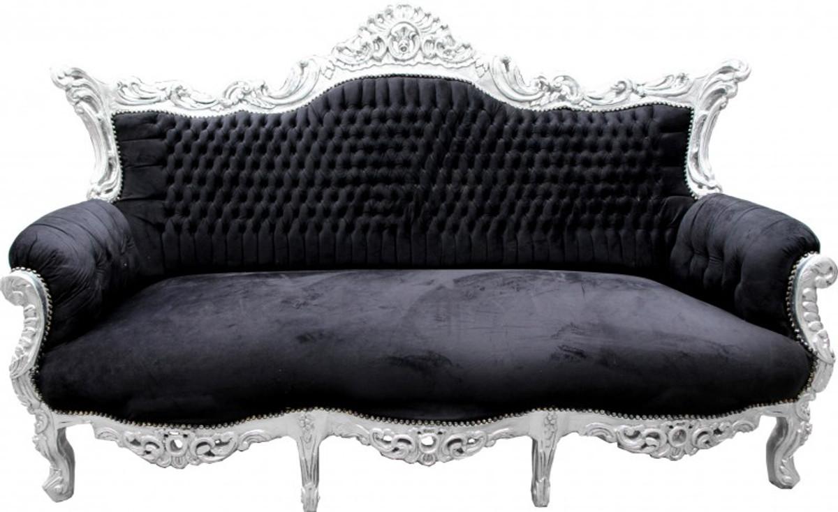 casa padrino barock sofa master schwarz silber m bel couch lounge sofas barock sofas. Black Bedroom Furniture Sets. Home Design Ideas